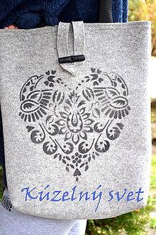 Kabelky - Filcová kabelka čierny - ornament - 7390361_