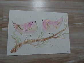 Kresby - Ružové metalické vtáčence - 7387957_