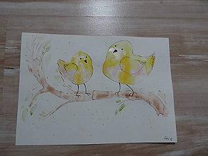 Kresby - Žlté metalické vtáčence - 7387983_