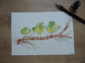 Kresby - Zelené vtáčence na konári - 7388003_