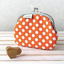 Peňaženky - Peňaženka Oranžová s bodkami - 7387930_
