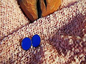 Náušnice - Modré oválne náušničky - 7389184_