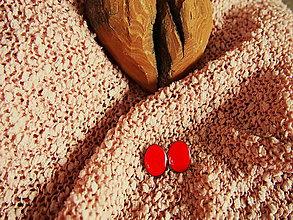Náušnice - Červené oválne náušničky - 7389213_