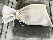 Úžitkový textil - Vrecko na chlieb z ručne tkaného ľanu 48x30 - 7387950_