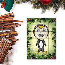 Papiernictvo - Adventný kalendár skladačka - ihličie (tučniak) - 7387910_