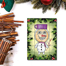 Dekorácie - Adventný kalendár skladačka (ihličie (snehuliak)) - 7388359_