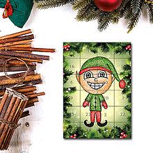 Dekorácie - Adventný kalendár skladačka (ihličie (škriatok)) - 7388912_