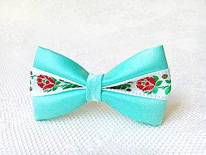 Ozdoby do vlasov - Slovak folklore hair bow (mint/white) - 7393769_