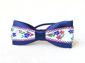 Ozdoby do vlasov - Slovak folklore hair bow (royal blue/white) - 7394178_