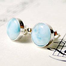 Náušnice - Larimar Silver Ag 925 Stud Earrings / Náušnice s larimarom v striebre 925 - 7393595_