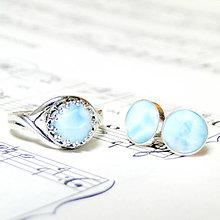 Sady šperkov - Larimar Silver Earrings & Ring Set / Set prsteňa a náušníc s prírodným larimarom ag 925 - 7393651_