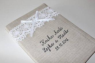 Papiernictvo - Svadobná kniha hostí...prírodná - 7396301_