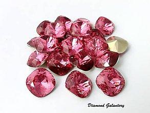 Galantéria - Kamienky štvorcové 12  mm - ružové - 7395884_