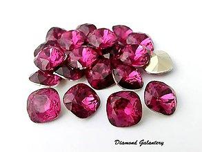 Galantéria - Kamienky štvorcové 12  mm - purpurové ružové - 7396196_