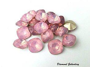 Komponenty - Kamienky štvorcové 12  mm - ružová svetla - 7396220_
