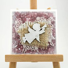 Papiernictvo - Zasnežená vianočná pohľadnica s washi papierom - fialová s anjelikom - 7392442_