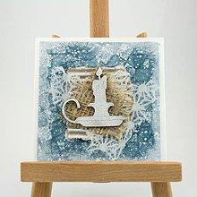Papiernictvo - Zasnežená vianočná pohľadnica s washi papierom - fialová so sviečkou - 7392520_
