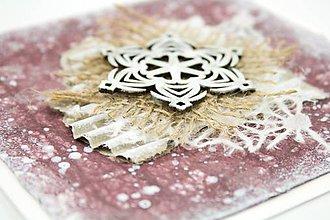 Papiernictvo - Zasnežená vianočná pohľadnica s washi papierom - fialová s vločkou - 7392526_