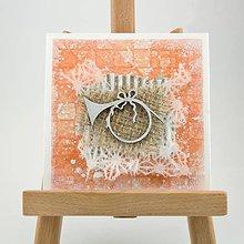 Papiernictvo - Zasnežená vianočná pohľadnica s washi papierom - oranžová s trúbkou - 7392532_