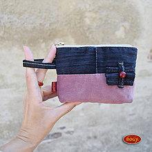 Peňaženky - manšestrová peněženka s mašličkou - 7396557_