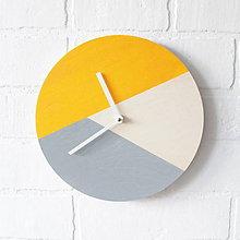Hodiny - Nástenné hodiny Žlto-sivé - 7392980_