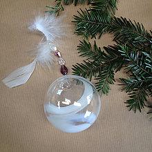 Drobnosti - Vianočná ručne fúkaná sklenená guľa - 7392942_