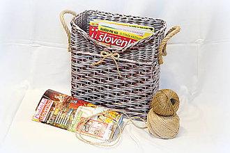 Košíky - Košík na časopisy - hnedá patina - 7392905_