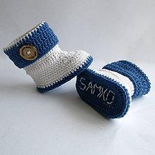 Topánočky - Háčkované čižmičky s menom dieťatka - chlapčenské - 7397199_