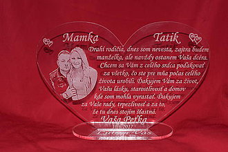Darčeky pre svadobčanov - Srdiečko ako poďakovanie rodičom plexisklo 4 - 7393416_