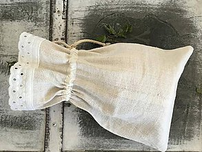 Úžitkový textil - Ľanové vrecúško z ručne tkaného ľanu 60x30 - 7395484_