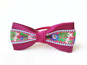 Ozdoby do vlasov - Slovak folklore hair bow (bordeaux/red) - 7400494_