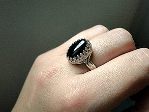 Prstene - Black Agate & Silver Ag 925 / Strieborný prsteň s čiernym achátom - 7401750_