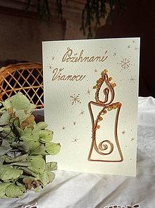 Papiernictvo - vianočná pohľadnica z drôtu...sviečka - 7400619_