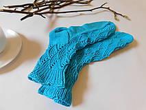 Obuv - bavlnené-tyrkysové ponožky s dierkovaným vzorom (v.39-40) - 7399770_