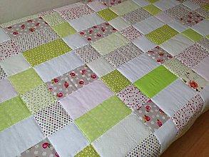 Úžitkový textil - Romantická zeleno ružová deka - 7398141_