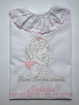 Detské oblečenie - Košieľka na krst K34 ružovo-strieborná - 7402509_