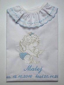 Detské oblečenie - Košieľka na krst K34 modro-strieborná - 7402492_