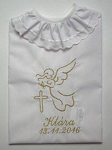 Detské oblečenie - Vyšívaná košieľka na krst K40 zlatá (Odoslanie do 14 dní) - 7402496_