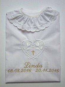 Detské oblečenie - Vyšívaná košieľka na krst K42 bielo-zlatá - 7402510_