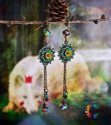 Náušnice - Víla z lesa - Swarovski obšívané náušnice - 7403463_