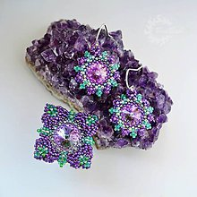 Sady šperkov - Royal flower - Swarovski obšívané náušnice a prsteň - 7403813_