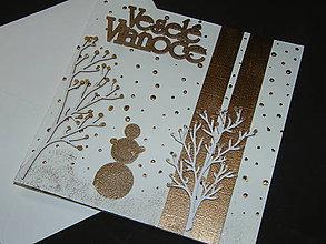 Papiernictvo - Vianočná pohľadnica_ Medený snehuliak - 7402604_