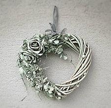 Dekorácie - Veniec - srdce, kvety - SC - 7402992_