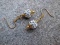 Shamballa náušnice bielo - zlaté