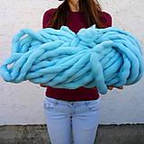 Galantéria - Superhrubá pletacia priadza Mentolová modrá vlna 250g - 7406827_