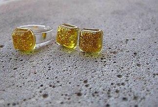 Sady šperkov - Štvorčeky - sada zo živice (Zlaté štvorčeky - sada č.613) - 7405308_