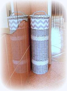 Košíky - Košík - zásobník v šedo - biely - 7403268_