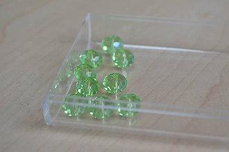 Korálky - Korálky sklenené brúsené svetlezelené 8mm, 0.60€/10ks - 7403605_