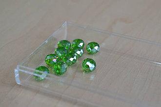 Korálky - Korálky sklenené brúsené zelené 8mm, 0.60€/10ks - 7403622_
