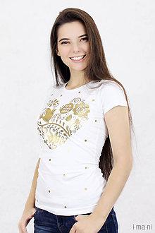 Tričká - Dámske tričko VNL so zlatou potačou - 7403102_